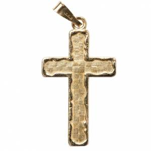 Pendant cross in gold-plated 800 silver, squares pattern s1