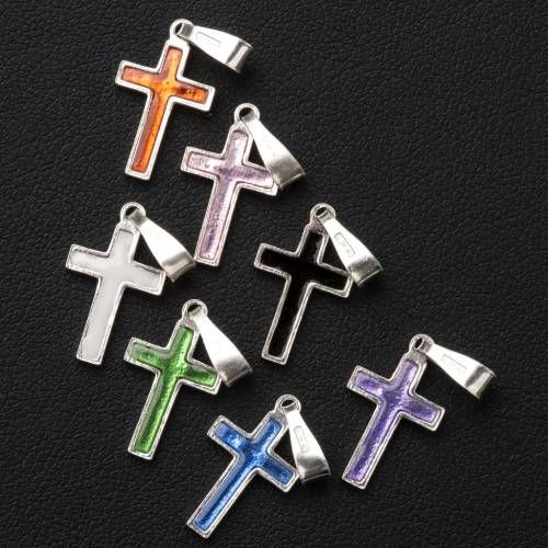 Pendant cross in silver and coloured enamel s4