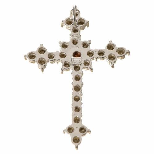 Pendant cross in silver and rhinestone 3,5 x 4,5 cm s2