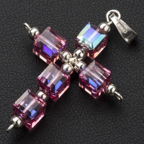 Pendant cross, pink cubic Swarovski s2