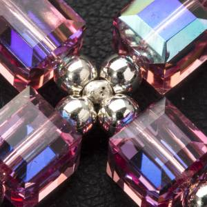 Pendant cross, pink cubic Swarovski s3