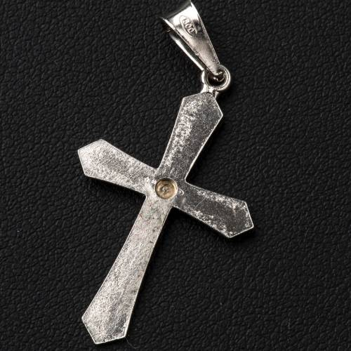 Pendant cross, pointed in silver with zircon and swirling patter s3