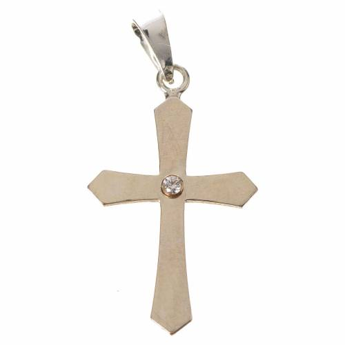 Pendant cross, pointed in silver with zircon s1