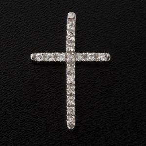 Pendant cross, sterling silver and rhinestones 3cm s4