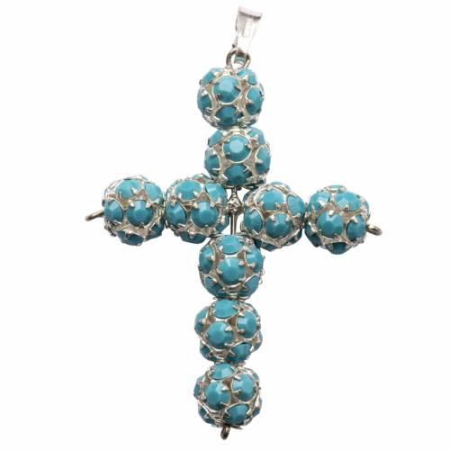 Pendant cross, Turquoise strassball diam. 0,24in s1