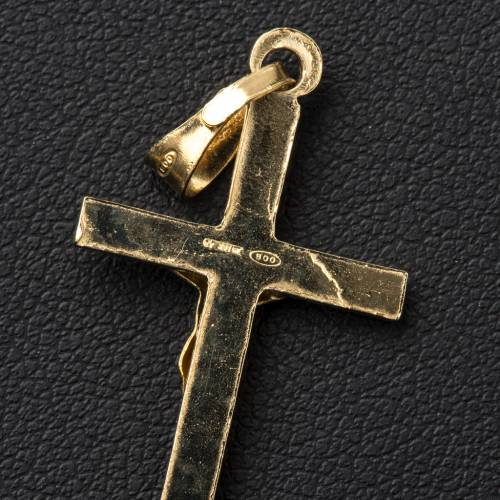 Pendant crucifix in gold-plated 800 silver 2x3 cm s3