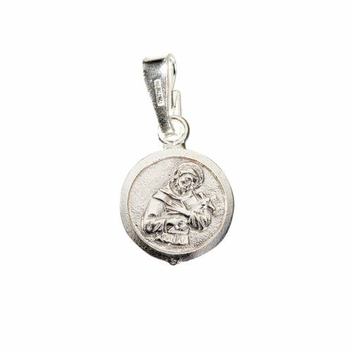 Pendant medal in sterling silver, Saint Francis 9mm s1