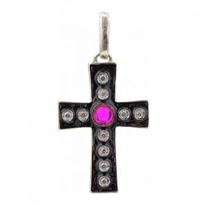 Pendant Romanesque cross, sterling silver, rhinestones, red ston s1