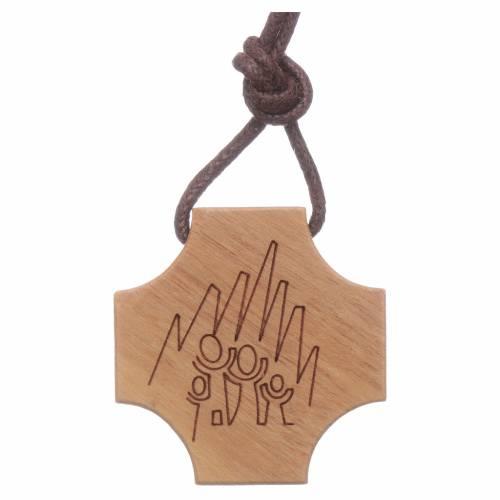STOCK Pendente croce olivo incisione Sacra Famiglia s2