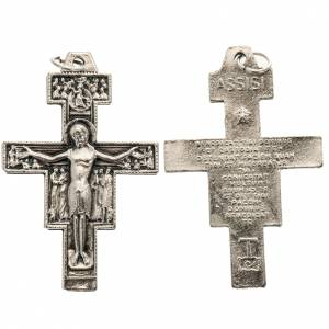 Pendenti croce metallo: Pendente croce San Damiano metallo argentato h 4,2 cm