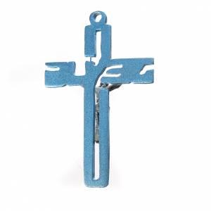 Pendente crocifisso stilizzato zama azzurro s2