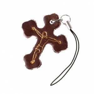 Pendentif en croix trois lobes cuir,pour téléphone s1