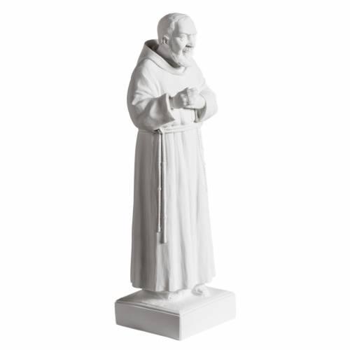 Père Pio marbre blanc 40cm extérieur s2