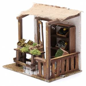 Ambientazioni, botteghe, case, pozzi: Pescheria con banco 15x20x15 cm per presepe