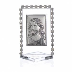Bonbonnière: Picture with image of Christ, rhinestones 5.5x3.5cm