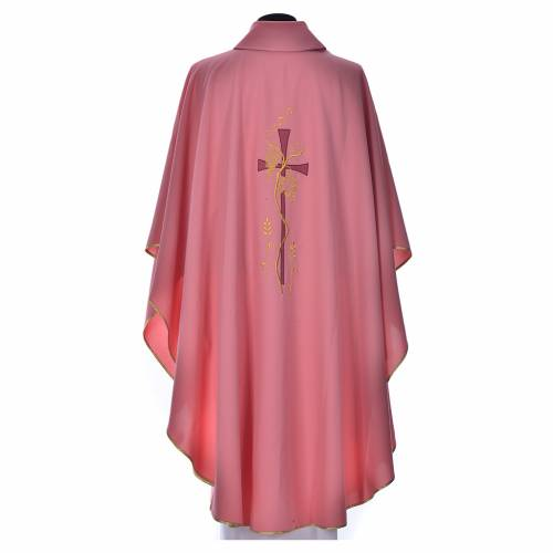 Pink chasuble with cross embroidery s3