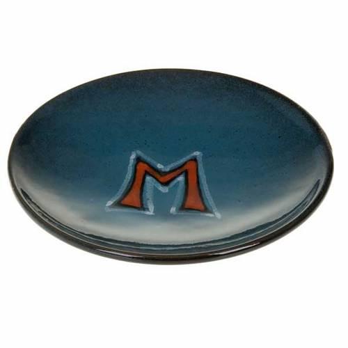 Platillo cubre cáliz, cerámica color turquesa símbolo Mariano s1