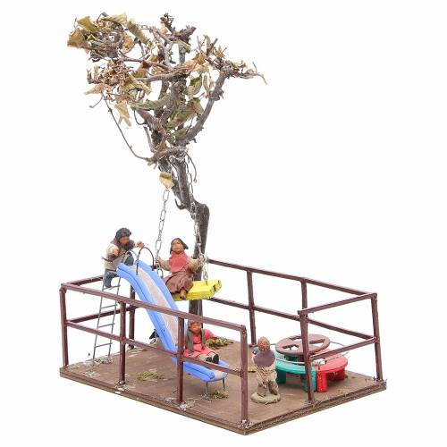 Play area with children, slide and swing, Neapolitan Nativity 12cm s2