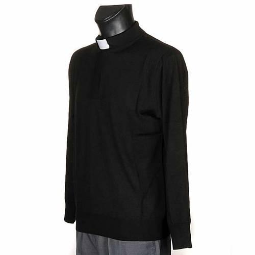 Polo clergy nera maglia calata s2