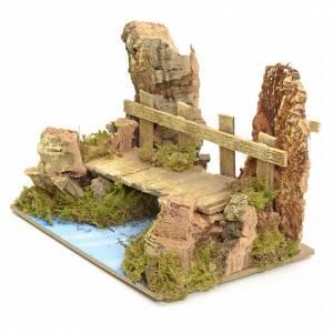 Ponts, ruisseaux, palissades pour crèche: Pont sur fleuve 10x15x10 cm pour crèche