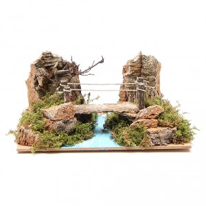 Ponte presepe, ruscelli, staccionate: Ponte su fiume per presepe 14x20x12 cm
