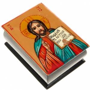 Porta rosario ícono pintado mano Pantocrátor s1