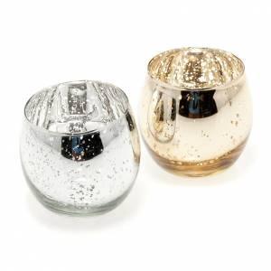 Portacandela bicchiere in vetro addobbo Natale s1