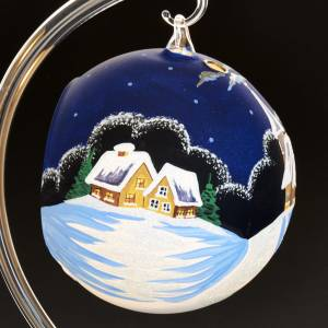 Portacandela Natale dipinto a mano paese innevato s5