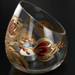 Portacandela natalizio bicchiere tagliato vetro s2
