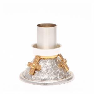 Candelieri metallo: Portacandela bronzo argentato croce dorata