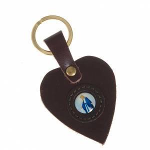 Portachiavi: Portachiavi cuore pelle Madonna Miracolosa
