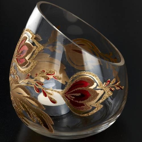 Porte bougie de Noel en verre décorations dorées s2