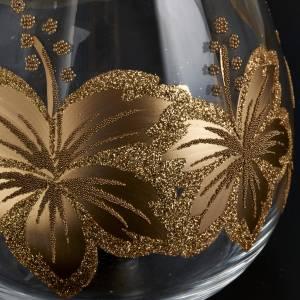Porte bougie de Noel en verre décorations florales s3