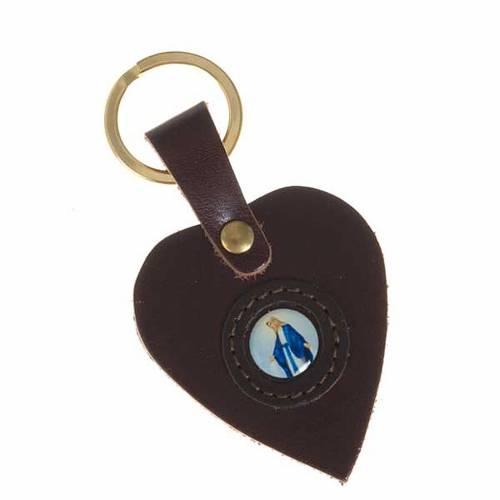 Porte-clefs coeur cuir Vierge Miraculeuse s2