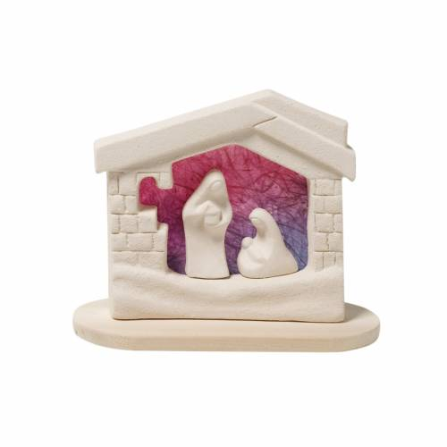 Presepe casetta Natale su base argilla viola 14,5 cm s1