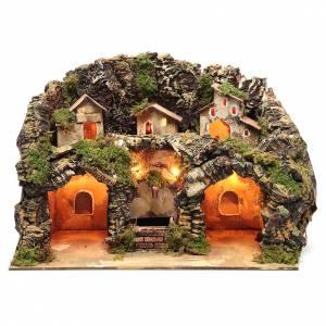 Capanne Presepe e Grotte: Presepe completo di luci e fontana elettrica con pompa per riciclo dell'acqua