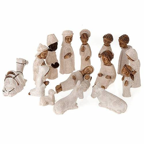 Presepe piccolo bianco Betlheem completo (Petit Crèche) s1