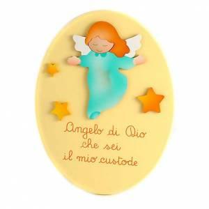 Prière de l'ange gardien sur ovale jaune s1