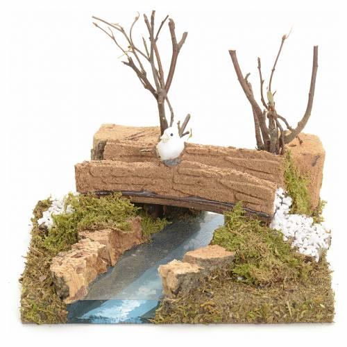 Puente con río con pajarito 13x16x13 s1