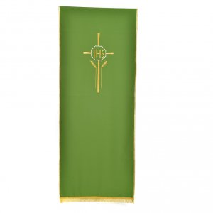 Pulpit cover with IHS cross ears of wheat, polyester s5