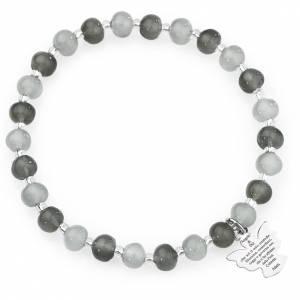 Pulsera AMEN perlas gris de Murano 6 mm. plata 925 s1