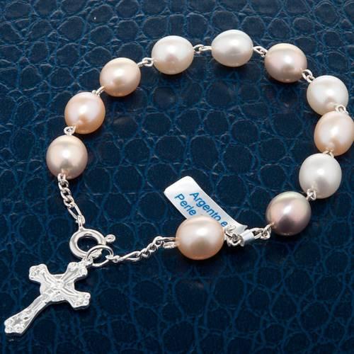 Pulsera decena plata y perlas de río s4