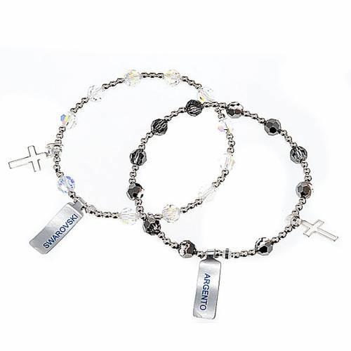 Pulsera elástico plata y Swarovski s1