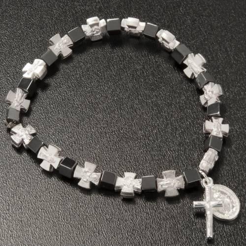 Pulsera hematites con cruz y Virgen Milagrosa s3