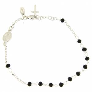 Pulseras AMEN: Pulsera rosario AMEN cruz charm plata 925 cristales acabado Rodio