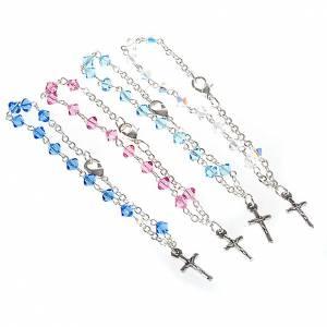 Pulseras de plata: Pulsera rosario Swarovski cadena plata