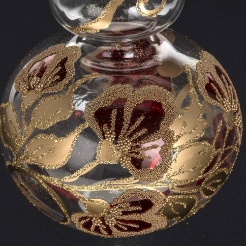 Puntale albero di Natale vetro trasparente decori rossi oro s3