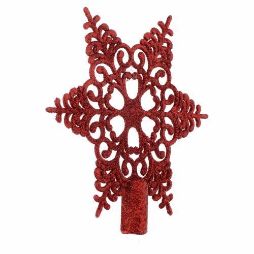 Puntale Albero Natale fiocco di neve rosso s2