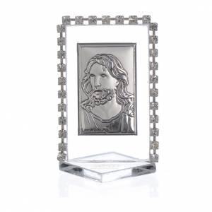Bomboniere e ricordini: Quadretto Cristo con strass 5,5x3,5cm
