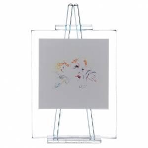 Bomboniere e ricordini: Quadretto in vetro Eccomi appoggio cm 11x14 celeste